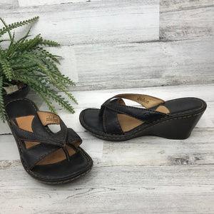 Born Black Wedge Sandals [500s4]